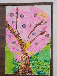 桜の貼り絵
